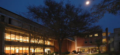 [Levin College of Law at night]